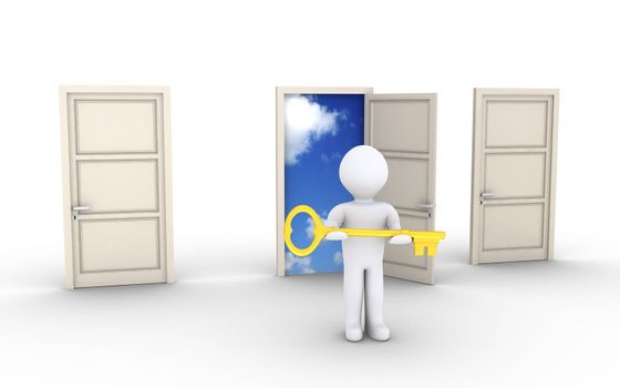 3d person holding a key is in front of doors and one leads to the sky