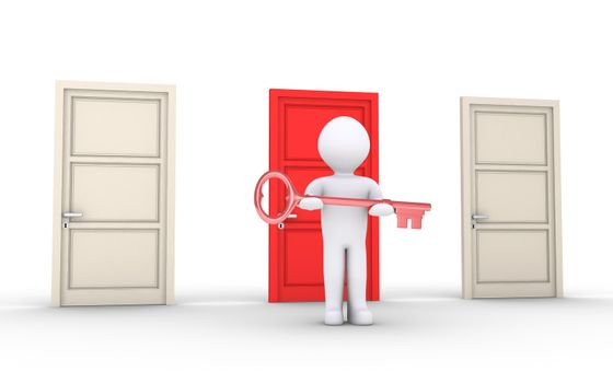 3d person holding key is in front of doors and one is of different color
