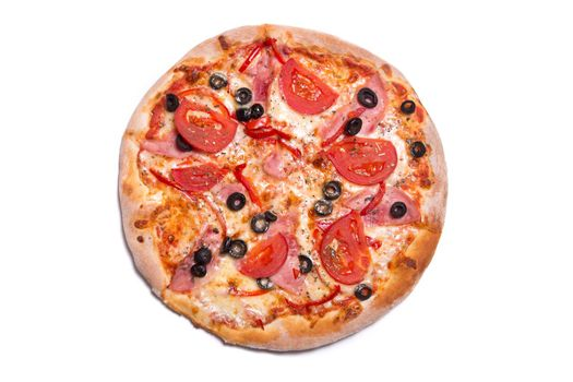 Tasty Italian pizza with ham, tomatoes, and olives, isolated on white background