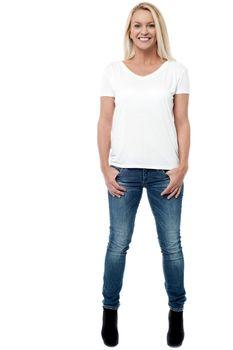 Smiling caucasian woman posing