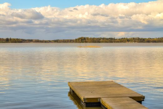 Wooden pier in the lake