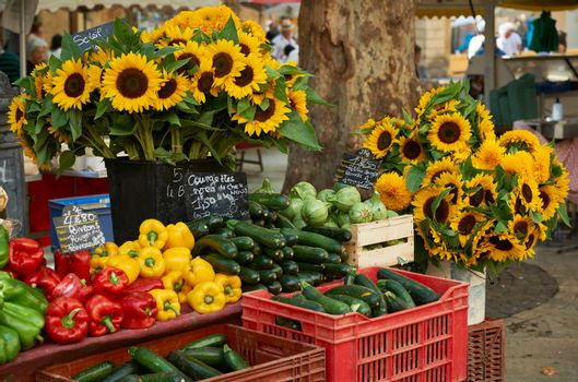 Vegetables and flowers for sale in Provence