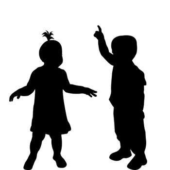 Two toddlers silhouettes