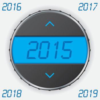 Car gauge with 2015 text