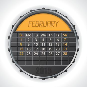 2015 february calendar with lcd display