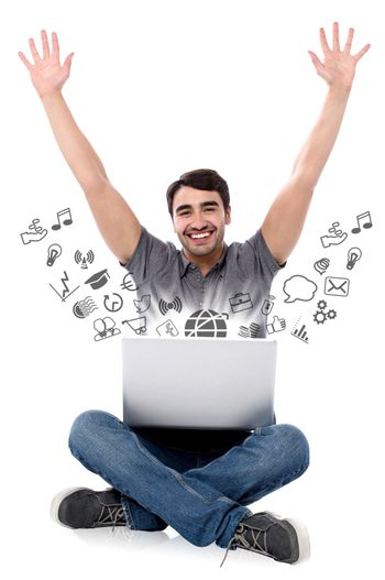 Successful smiling man with laptop