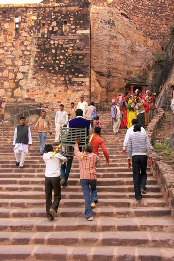 Local people going up the stairs at Ranthambore Fort, India