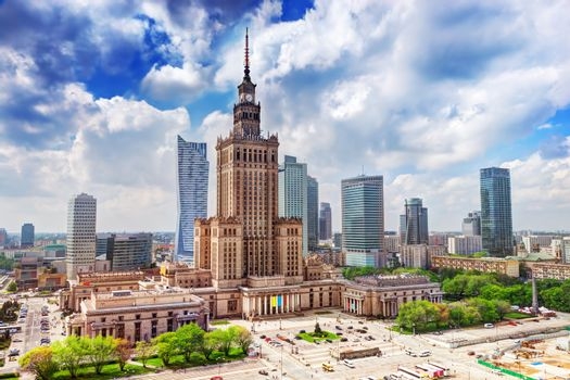 Warsaw, Poland. Palace of Culture and Science and skyscrapers, downtown.
