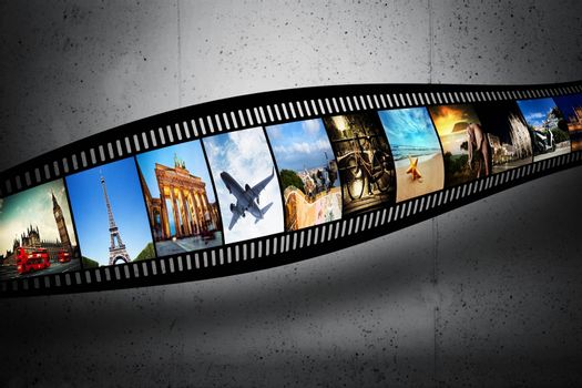 Film strip with colorful, vibrant photographs on grunge wall. Travel theme
