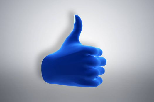 Blue hand gesture showing OK, like, agree. Social media