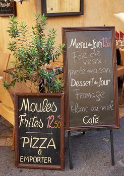 French street restaurant menu