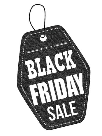 Black friday sale leather label or price tag on white background, vector illustration