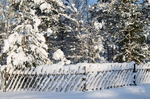 The wooden fence filled up by a snow in a countryside.