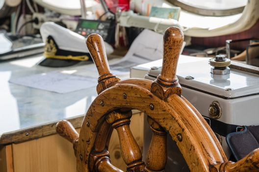 Steering wheel of the ship. A workplace of the captain