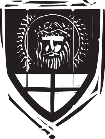Woodcut style Heraldic Shield with Jesus Christ