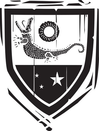 Woodcut style Heraldic Shield with a Crocodile