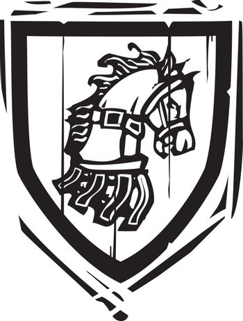 Woodcut style Heraldic Shield with a Horse's head