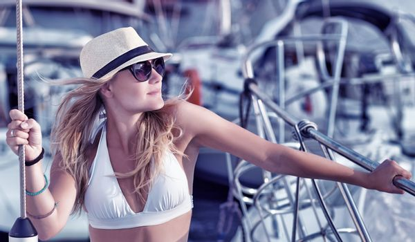 Sexy woman on the yacht