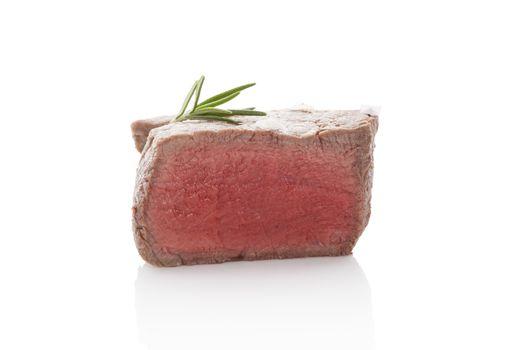 Steak isolated on white background.