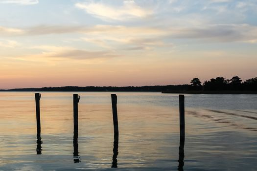 Docking poles in the sunset