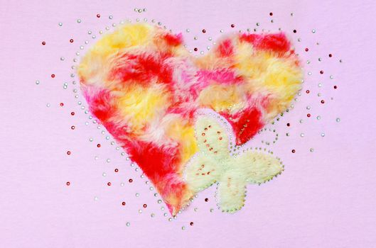 Heart butterfly fluff and sequin
