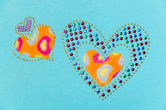 Two heart fluff and sequin