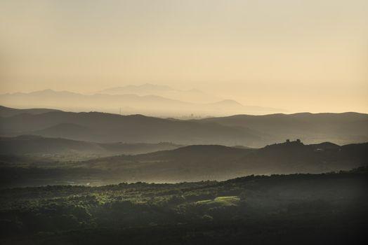 Sunset landscape Tuscany