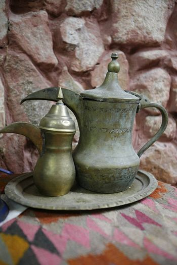 a cafe and Tea Shop in the Village of Wadi Musa near the Temple city of Petra in Jordan in the middle east.