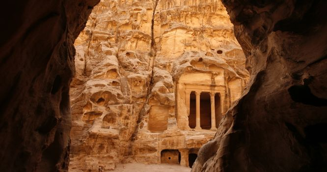 The Treasury of the little Petra in the Temple city of Petra in Jordan in the middle east.