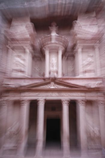 The Al Khazneh Treasury in the Temple city of Petra in Jordan in the middle east.