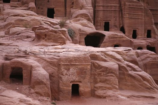 the street of Facades or Necropolis in the Temple city of Petra in Jordan in the middle east.