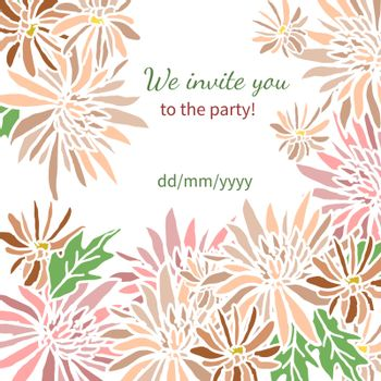 Card with fresh flowers invitation to a great moment for your design