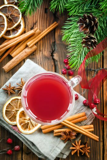 Christmas punch with cinnamon and anise