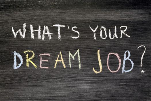 What's your dream job? Phrase handwritten on chalkboard