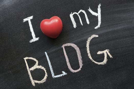 I love my blog handwritten on school blackboard