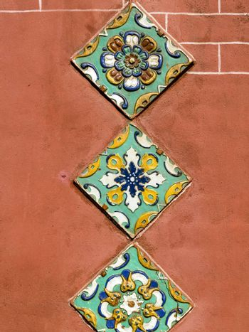 Traditional outside wall tile decoration of orthodox church in Yaroslavl, Russia