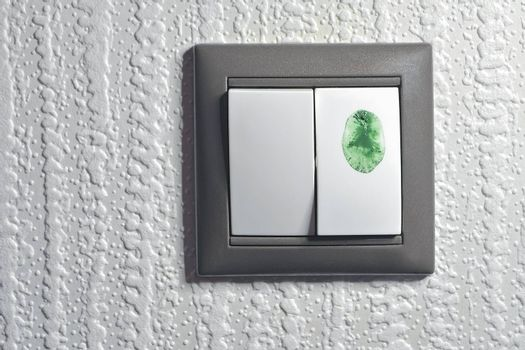"""two keys light switch, one is touched by green color fingertip to switch """"green"""" ecological energy"""