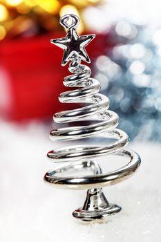 Silver stylized Christmas tree