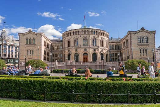 OSLO, NORWAY - AUGUST 28: The Storting is supreme legislature of Norway, pictured on August 28, 2014. Parliament was established by Constitution of Norway in 1814 and is designed by Emil Victor Langlet.