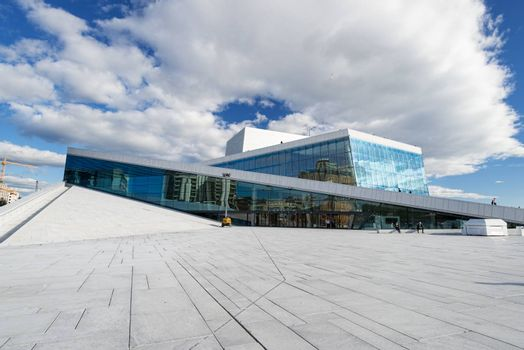 OSLO, NORWAY - AUGUST 11: View on a side of the National Oslo Opera House on August 11, 2012 in Oslo, Norway, which was opened on April 12, 2008