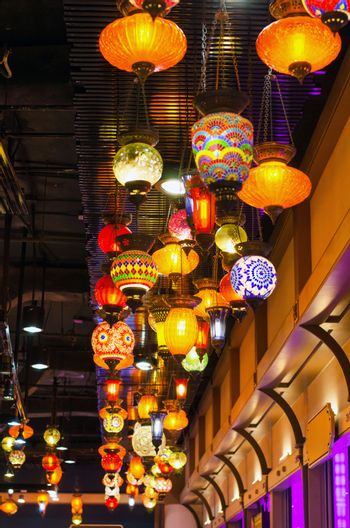 Colourful mosaic lamps