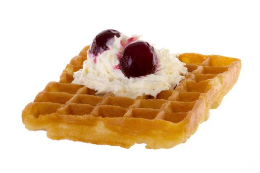 Brussels waffle with cream and cherries