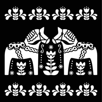 Swedish Dala or Daleclarian horse folk art pattern on black