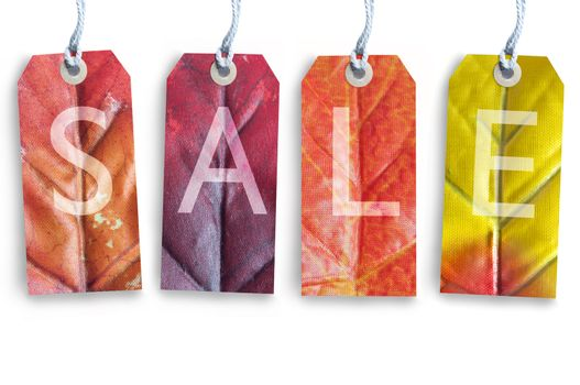 Autumn sale tags over a white background