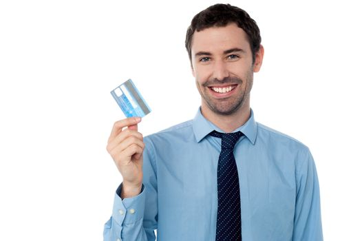 Corporate guy showing his debit card