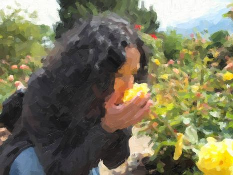 Pretty young brunette girl woman female smelling roses in the garden oil painting