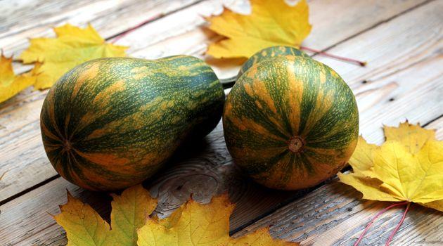 Pumpkins with marple leaves