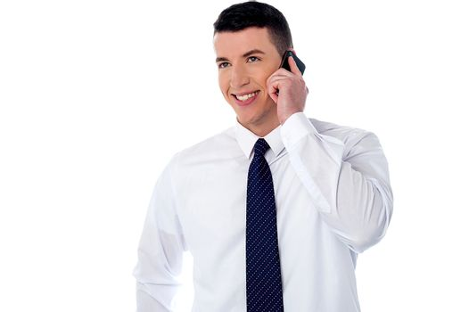 Corporate guy communicating with client