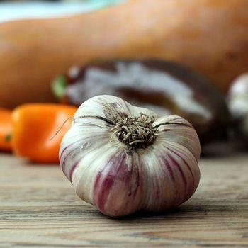 Garlic on a wood table