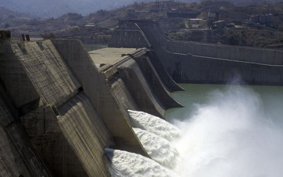 The River Waterpower Dam Project of Sardar Sarovar in the Province Gujarat in India.